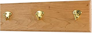 """product image for Cherry Coat Rack with Solid Brass Single Style Hooks 4.5"""" Ultra Wide (Natural, 15"""" x 4.5"""" with 3 Hooks)"""