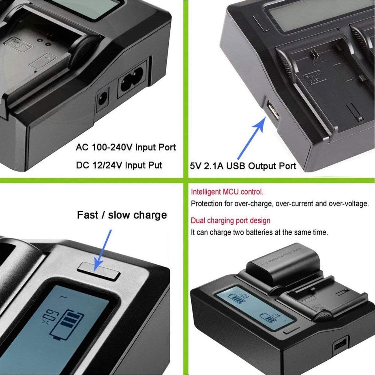 HDR-CX305E HDR-CX505VE Dual Channel Battery Charger for Sony HDR-CX105E HDR-CX535E Handycam Camcorder