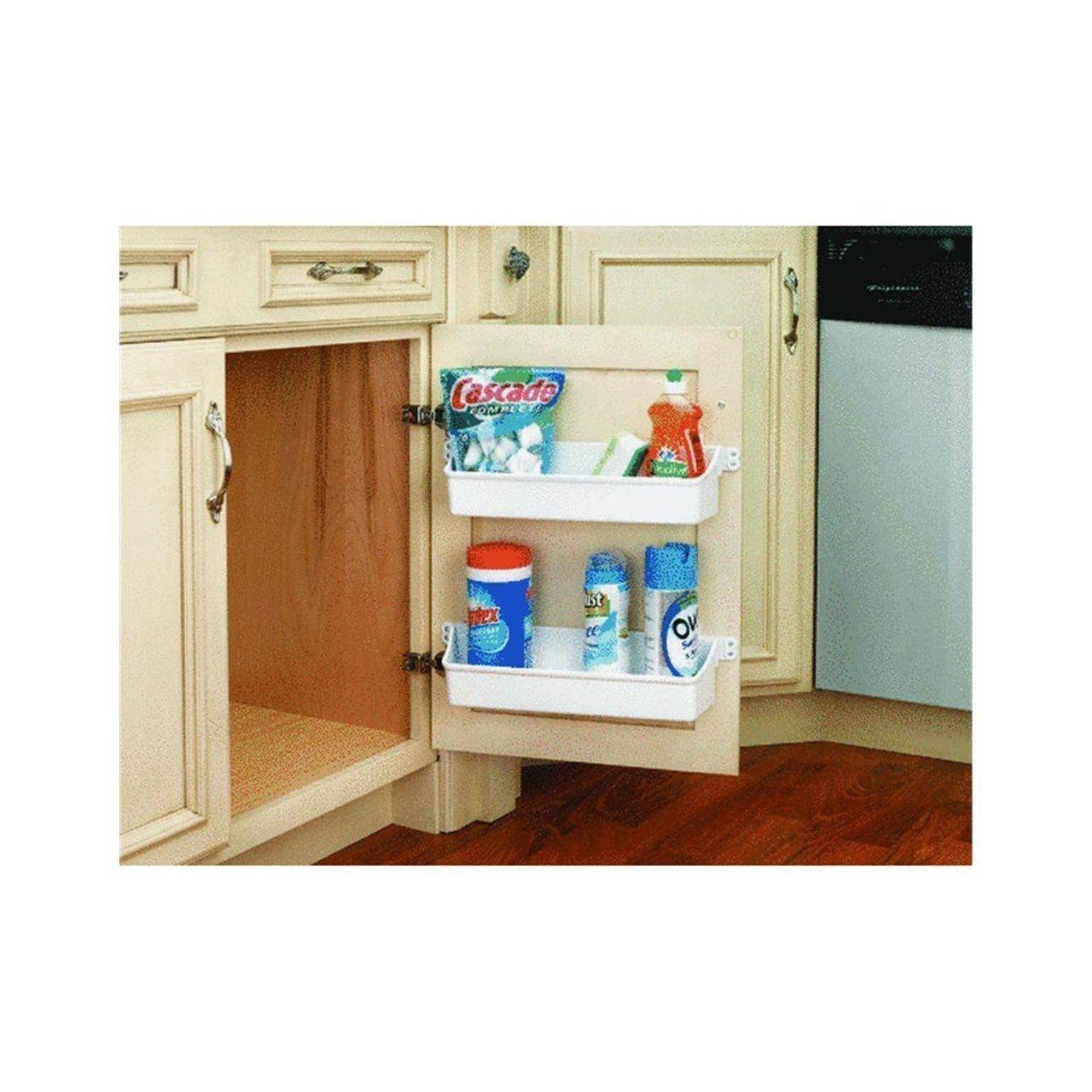 Generic YC-US2-151027-158 <8&25231> ack USACabinet 2 W Door Storage Home Cabinet 2 White Plastic Kitchen Shelf Organizer Tray Rack USA Home Kitche