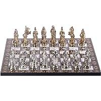 Büyük Boy Metal Osmanlı Bizans Satranç Takımı Parlak ve Sedef Desenli MDF Ahşap Satranç Tahtası (37x37 cm.)