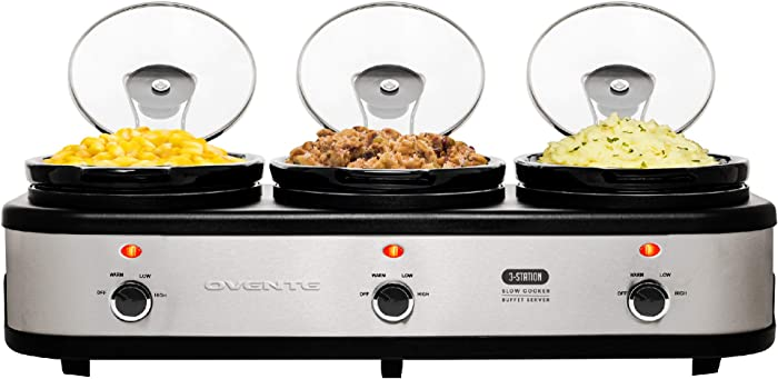 Ovente Stainless Steel Triple Slow Cooker Buffet Server with Glass Lid & Temperature Control, 3 Section Portable 1.5 QT Ceramic Pot Food Warmer Easy Clean Perfect for Holiday Dinner, Silver SLO315CBR