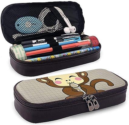 Estuche de lápices de cuero de pu Mono tocando una flauta Bolso de lápices Bolso de maquillaje cosmético con bolsa de lápiz: Amazon.es: Oficina y papelería