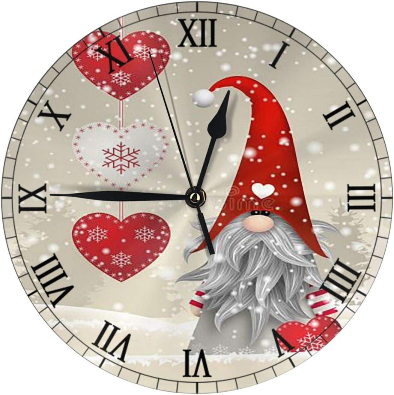 AuHomea Christmas Gnome Tomte Love Heart Round Wall Clock, Silent Non Ticking 9.5 Inch Clock Art Home Decor Battery Operated for Living Room, Kitchen, Bedroom