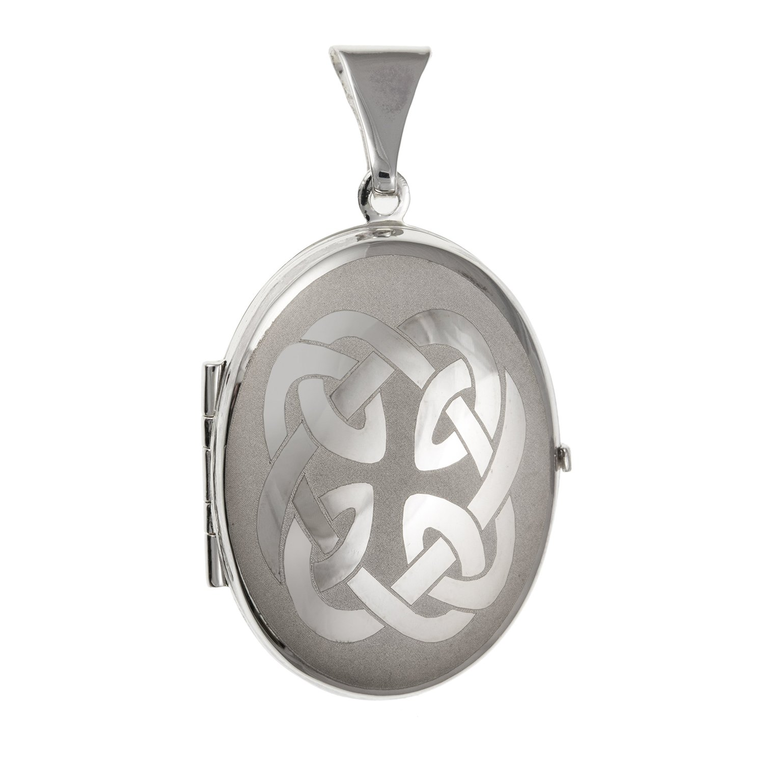 20MM Wide Irish Celtic Knot Family Oval Locket - 925 Sterling Silver - Supplied in Free Gift Box or Gift Bag M & M Jewellery BU2599ID-LL-LOCK