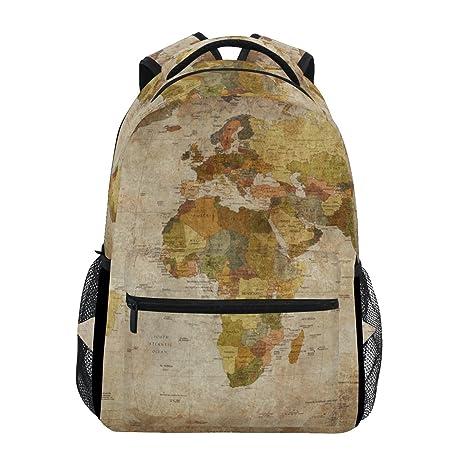 TIZORAX Mochila de Viaje, diseño Vintage de Mapa del Mundo Antiguo