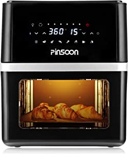 PINSOON Air Fryer Oven 10 QT with 31 Recipes, 360 degree Of Super-Heated Cyclonic Air, 8 Cooking Presets and 11 Accessories, LED Touch Screen and Auto-Shutoff Safety System