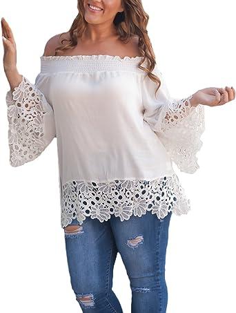 Camisetas Mujer Manga Larga Elegantes Camisas Sin Hombro Encaje Splicing Gasa Blusas Primavera Verano Moda Casual Ropa T-Shirt Anchas Tops Camisa Dama: Amazon.es: Ropa y accesorios