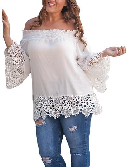 Mujer Camisas Manga Larga Sin Hombro Encaje Splicing Gasa Blusas Elegantes Verano Lindo Chic Moda Casual