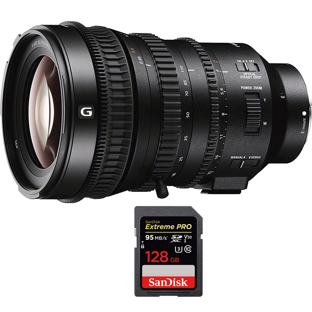 Sony E PZ 18-110mm APS-C / Super 35mm F4 G OSS E-mount Power Zoom Lens (SELP18110G) with Sandisk Extreme PRO SDXC 128GB UHS-1 Memory Card