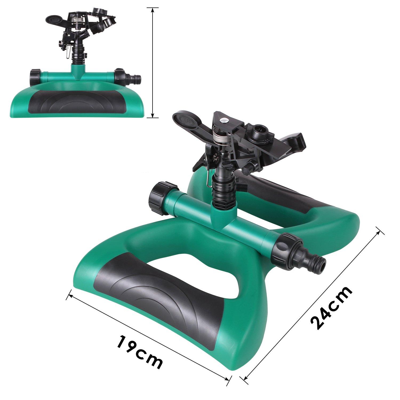 FIXKIT Aspersor de Riego de Rotaci/ón de 360 /° con Contrapesos Adecuado para C/ésped Patio Jard/ín Distancia de Pulverizaci/ón de 16 Pies Color Verde y Negro