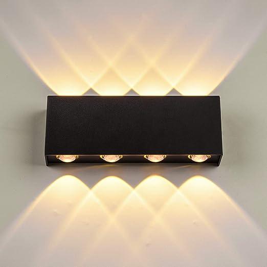 Lightess 16W Apliques de Pared LED Interior Lámpara de Pared Exterior Impermeable IP65 Luz de Aluminio Iluminación Moderna para Salón, Dormitorio, Escalera, Pasillo, 3000K Blanco Cálido (negro): Amazon.es: Iluminación