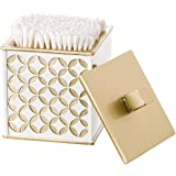 Creative Scents Diamond Lattice Q-Tip Holder, Cotton Ball dispenser, Durable Resin Swab Container, Decorative Bathroom Vanity Canister Jars With Lids For Toothpicks Storage organization