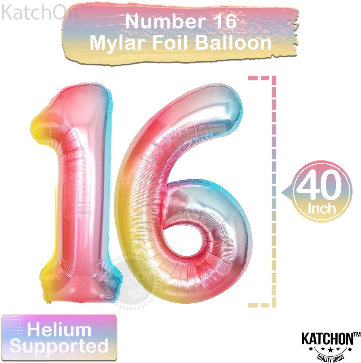40 Inch Gradient 16 Birthday Decorations for Girls Pink and Turquoise Latex Balloons Rainbow Number 16 Balloon Set 16 Balloon Numbers for 16 Year Old Girl Bday 16th Birthday Balloons Large