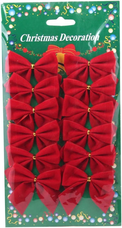 Luoem Lot de 12 n/œuds en ruban de velours Arbre de No/ël D/écorations de sapin de No/ël Rouge