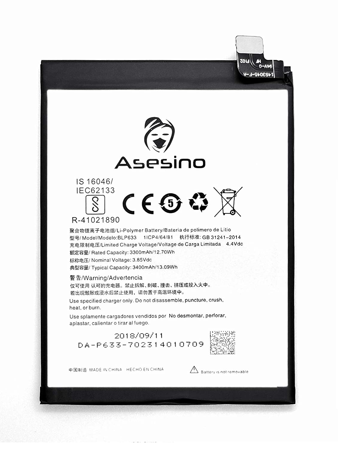 Asesino Battery Compatible with OnePlus 3T (3400mAh) with Replacement Toolkit BLP633 A3003 (12-Month Warranty)