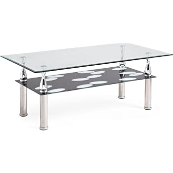 Gentil Hodedah Two Tier Rectangle Tempered Glass Coffee Table