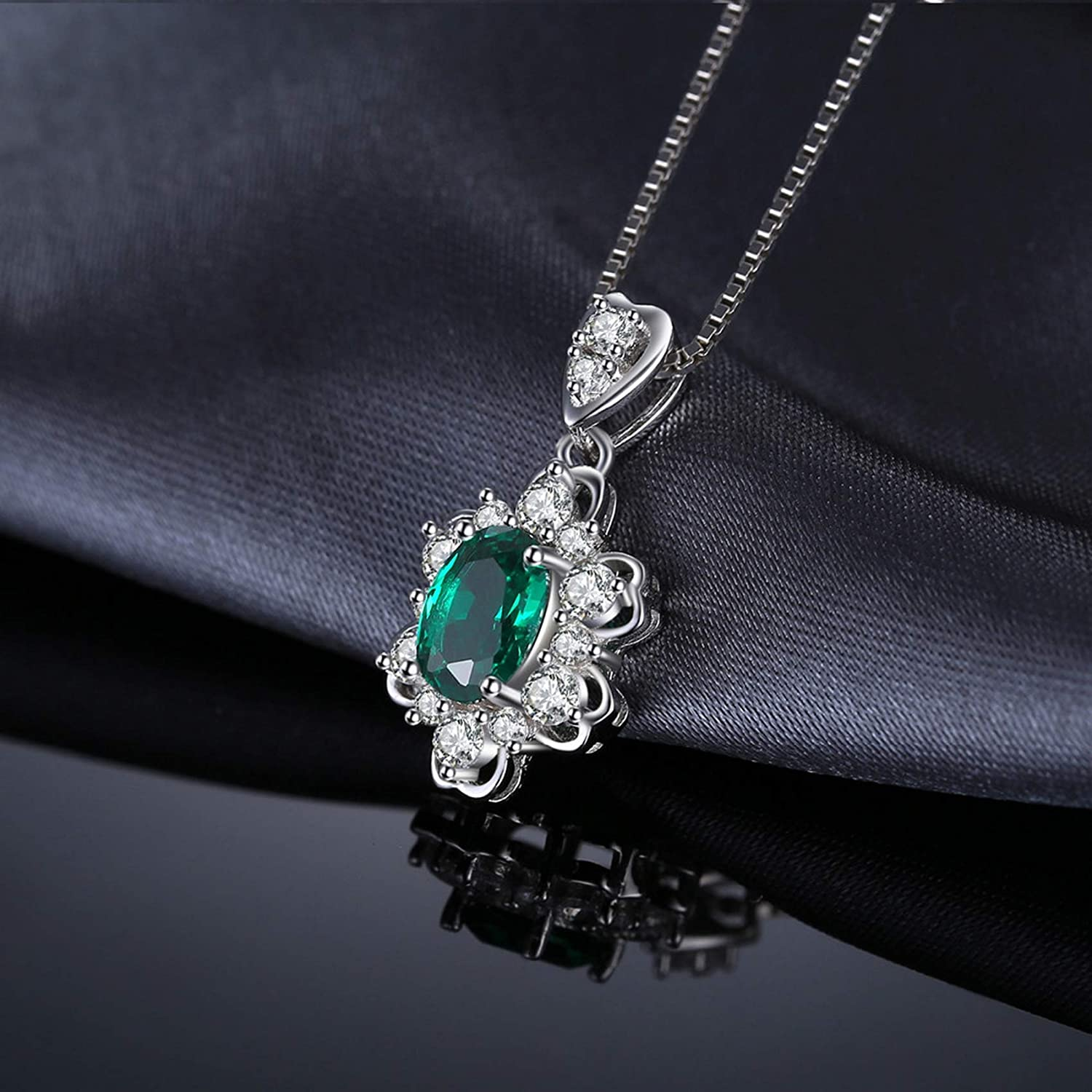 Pendants Necklaces by CS-DB Elegant 1.2ct Oval Emerald Charm Silver Womens Jewelry
