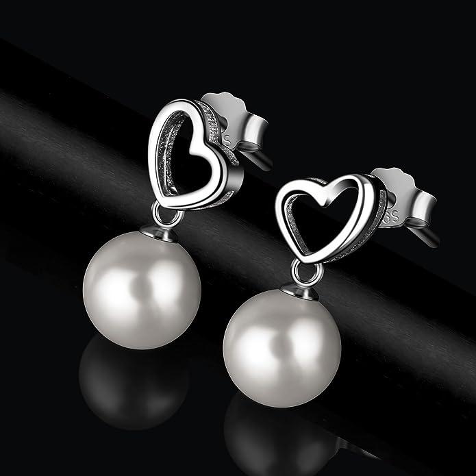 Sterling Silver Pearl Earrings for Women 8mm Pearl Jewellery D.Perlla Loving Heart Earrings YVj2lK9TEg