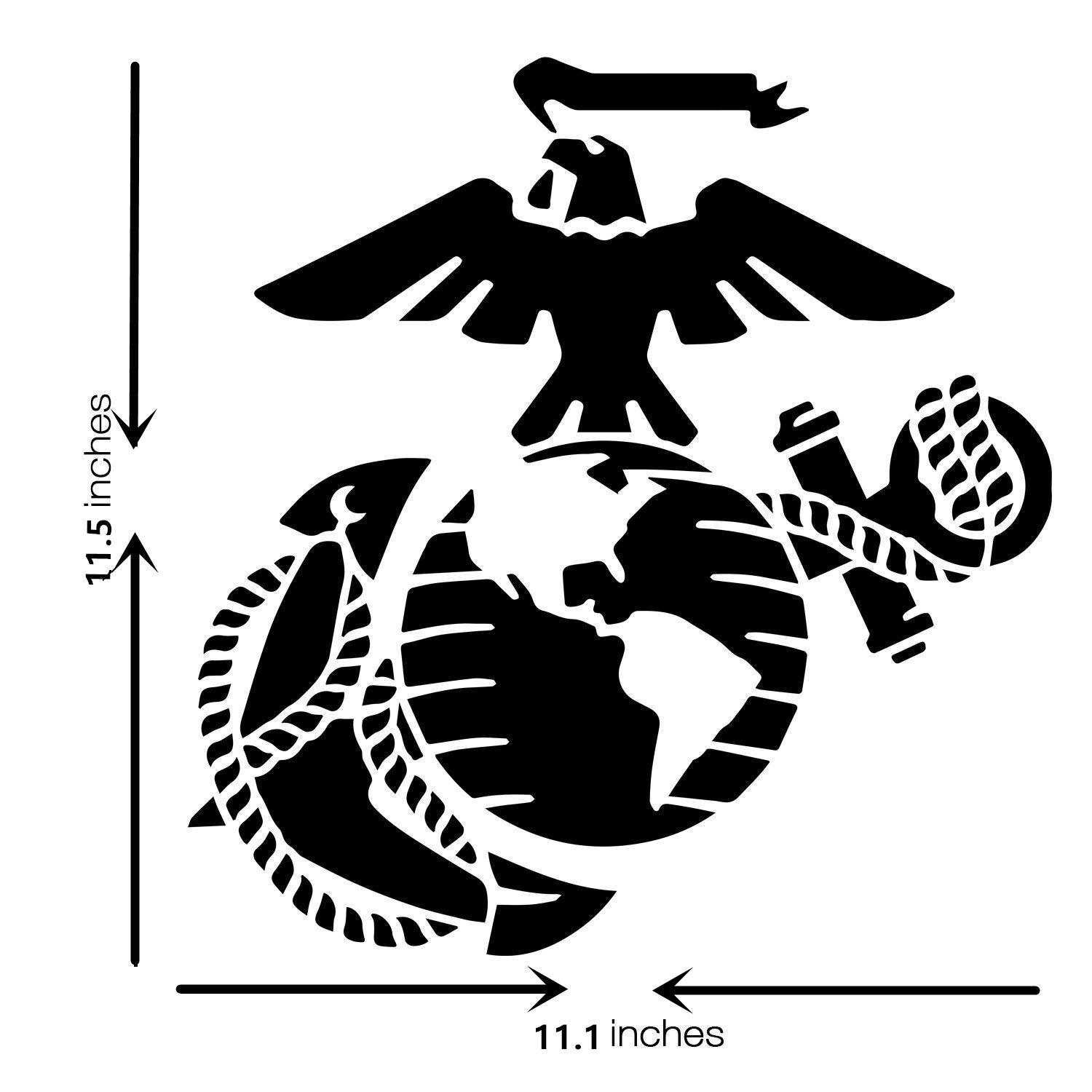 Large U.S Marine Corps Stencil for Painting on Wood, Fabric, Walls, Airbrush + More | Reusable 12 x 14 inch Mylar Template (USMC Military Logo) OBUY