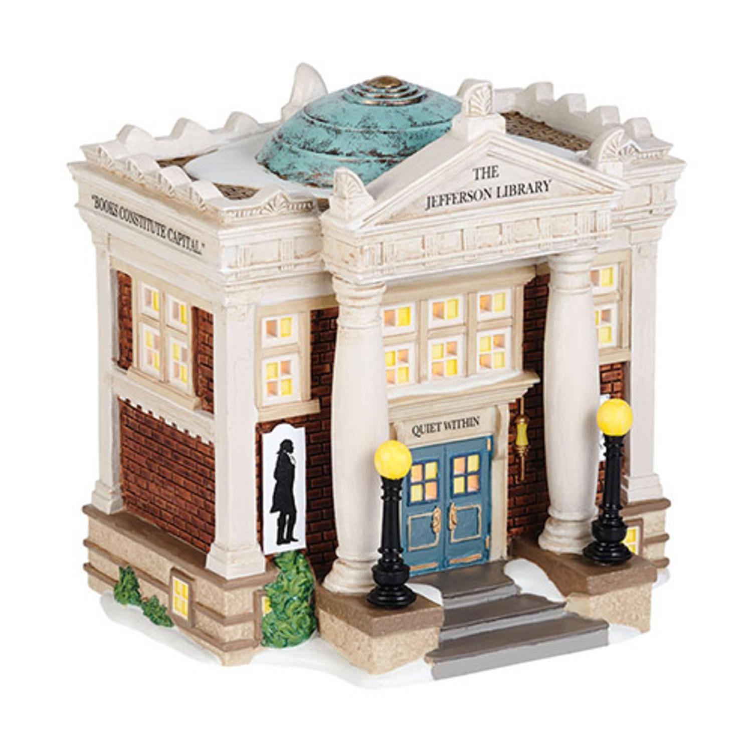 Department 56 New England Village ''The Jefferson Library'' Porcelain Lighted Building #4036529