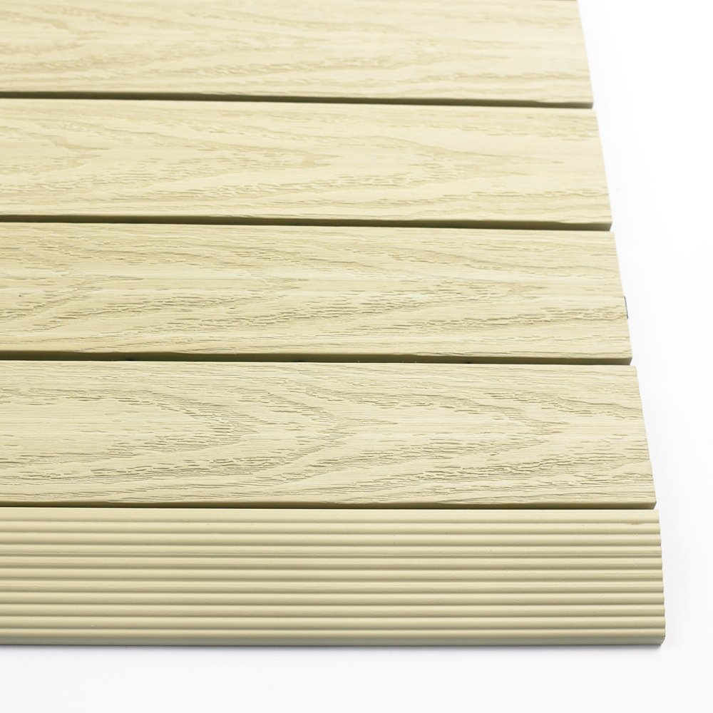 NewTechWood US-QD-SF-ZX-SD 1/6 x 1 ft. Quick Composite Deck Tile Straight Trim in Sahara Sand (4-Pieces/Box)