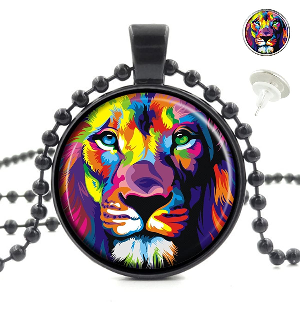 OneBee Lion Abstract Custom Fashion Black Pendant Crystal Glass Necklace Tag Earrings Jewelry Set