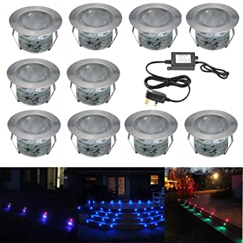 Pack of 10 LED RGB Decking Lights Kit Stainless Steel Waterproof LED Color  Changing Inground LightsPack of 10 LED RGB Decking Lights Kit Stainless Steel Waterproof  . Low Voltage Garden Lighting Kits Uk. Home Design Ideas