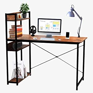 Levoni Computer Home Office Desk 39 inch Writing Study Table with Storage Shelves Study Writing Table with Bookshelves Brown
