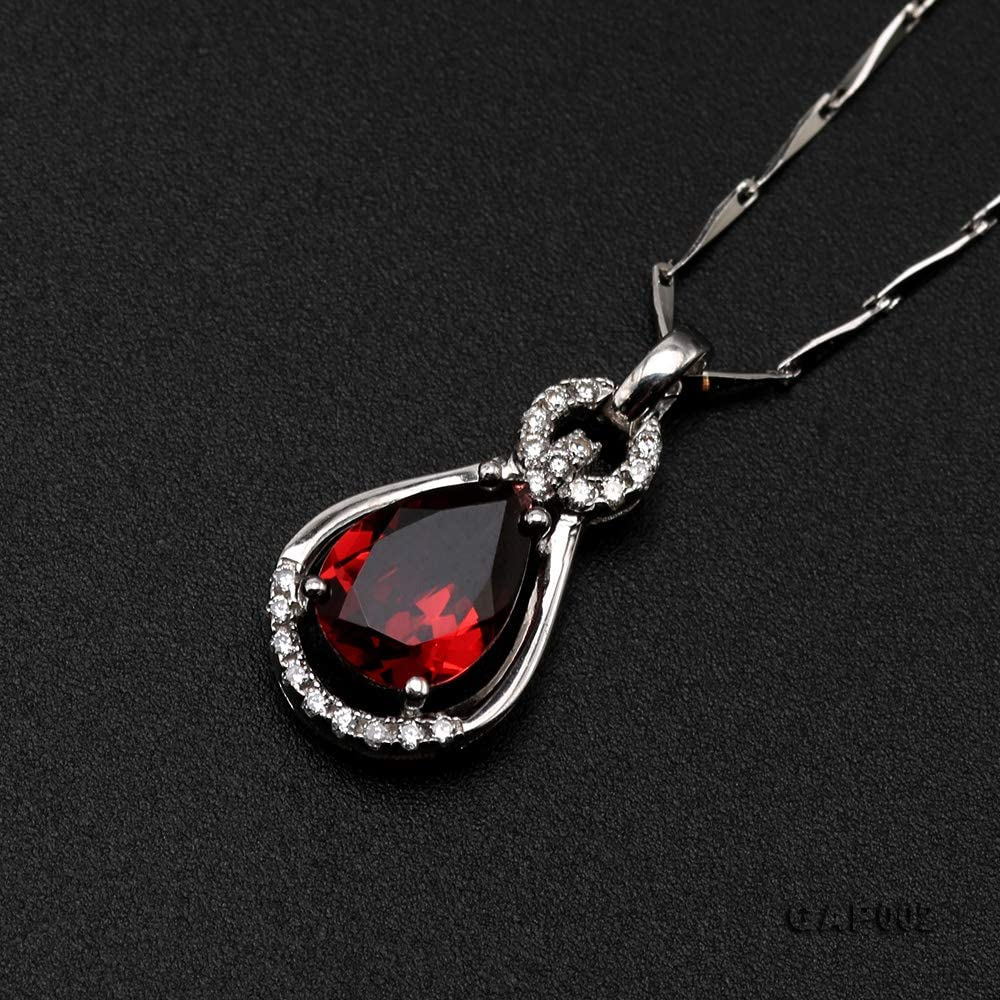Natural Red Garnet Necklace 7x9mm Oval 925 Sterling Silver Pendant Necklace for Women