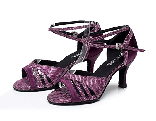 JSHOE Damen Sandalen Flared Heel Super Satin mit Funkelnden Glitter  Tanzschuhe,Purple-heeled7.5cm-UK4.5/EU36/Our37: Amazon.de: Schuhe &  Handtaschen