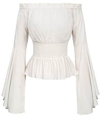 07fa3798be Women s Full Bell Sleeves Retro Vintage Off Shoulder Tops Ivory Size ...