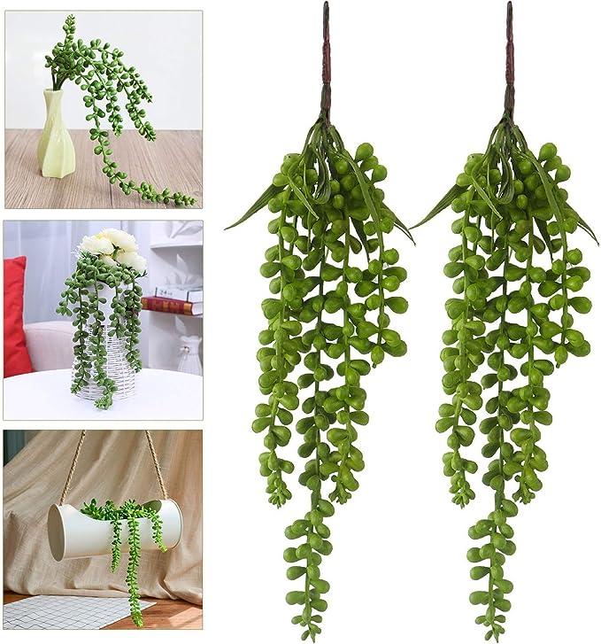 2x Künstliche Hängepflanzen Gefälschte Sukkulenten Perlenkette Kunstpflanzen