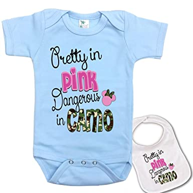 66a60ab0bbafd Amazon.com: Pretty in Pink, Dangerous in Camo Custom Baby Bodysuit Onesie &  Matching bib: Clothing