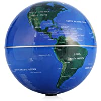 "ZJchao Self Rotating Globe, 4"" Auto-Spinning Rotary Globe Revolving World Earth Map Sphere Novelty Gift Home Office Decoration Kids Educational 6"" Blue Globe"