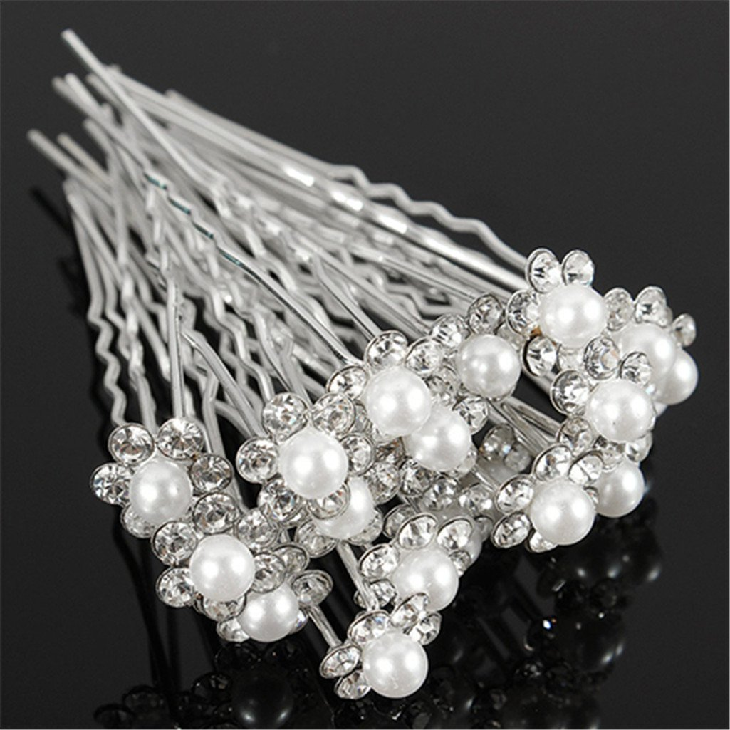 20Pcs Wedding Bridal Faux Pearl Rhinestone Flower Hair Stick Pins Clips Jewelry