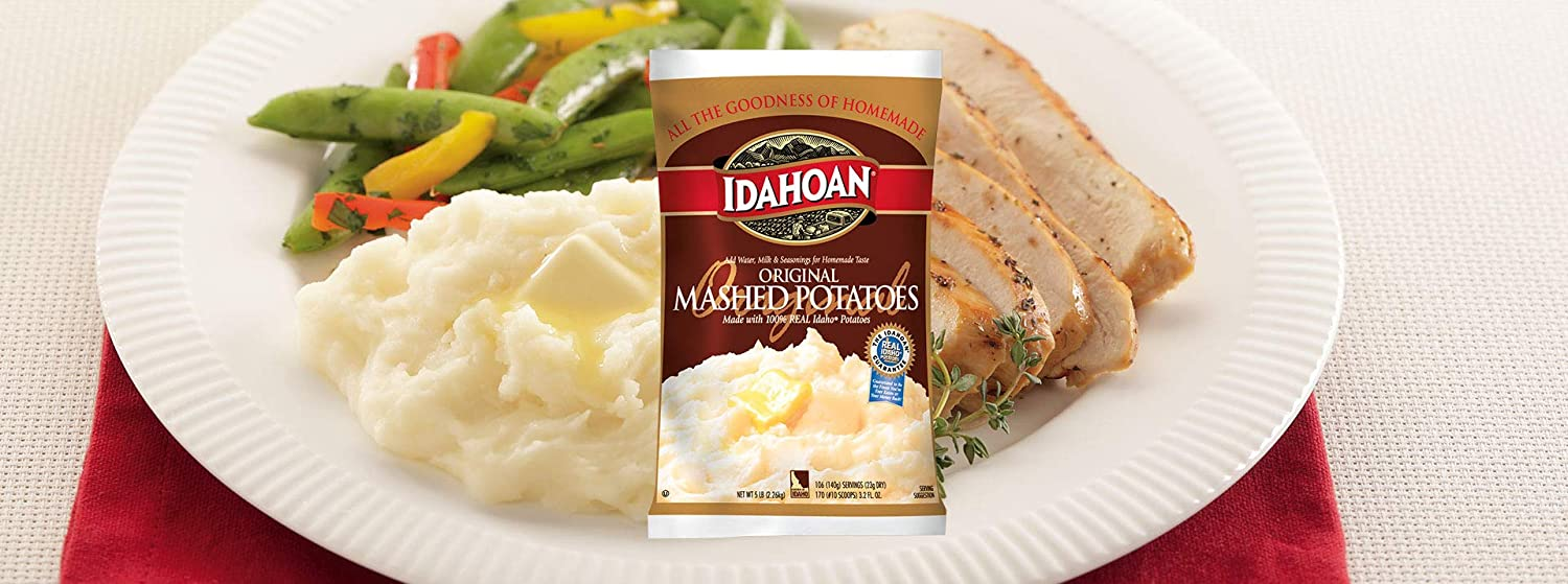 Idahoan Original Mashed Potatoes, Made with Naturally Gluten-Free 100% Real Idaho Potatoes, 5lb Bag (106 Servings)