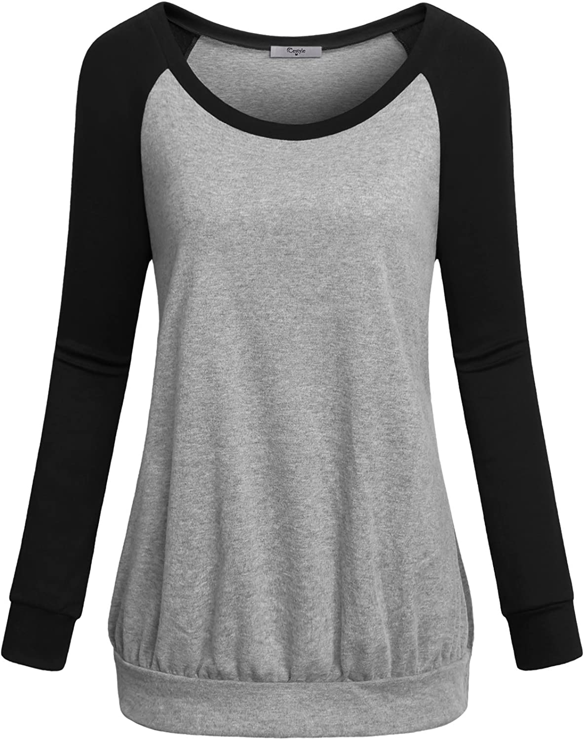 Cestyle Womens Crew Neck Long Raglan Sleeve Casual Lightweight Pullover Sweatshirt