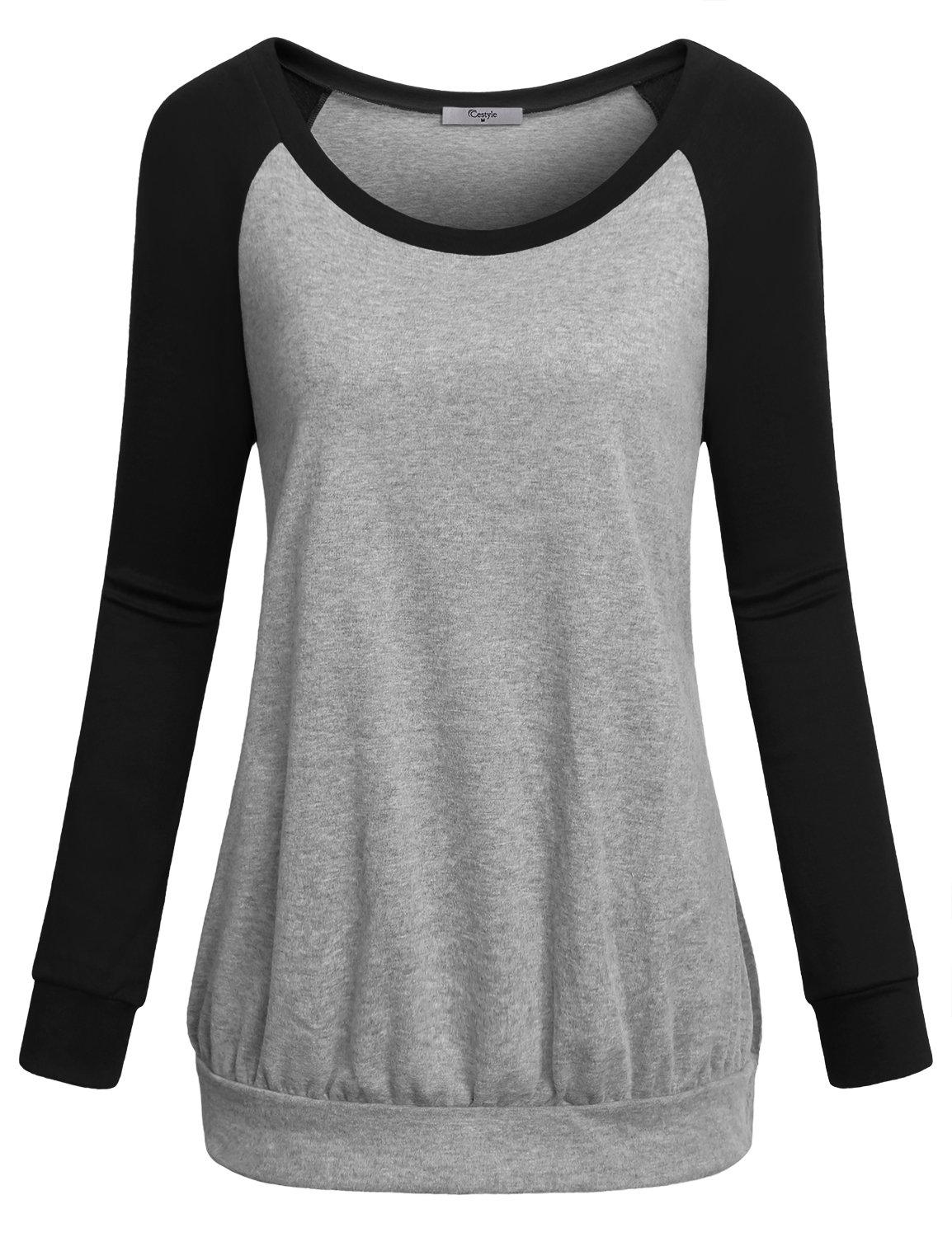 Cestyle Banded Bottom Tops for Women, Ladies Classy Long Sleeve Scoop Neck Cute Tunic Pullover Loose Fit Cotton Blend Workout Shirts Black X-Large
