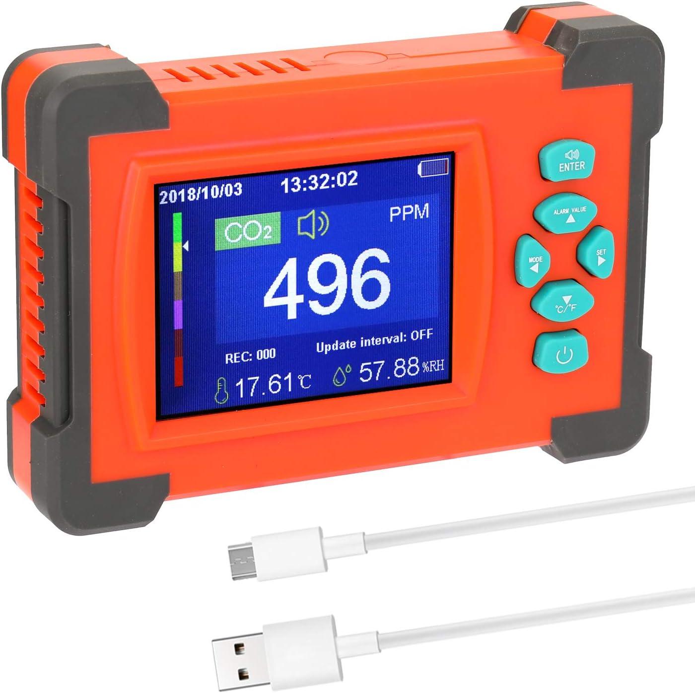 Ajcoflt Tragbarer Kohlendioxid-Detektor N/ützlicher Luftqualit/ätsmonitor mit CO2-Messger/ät und Aufbewahrungskoffer USB-Kabel