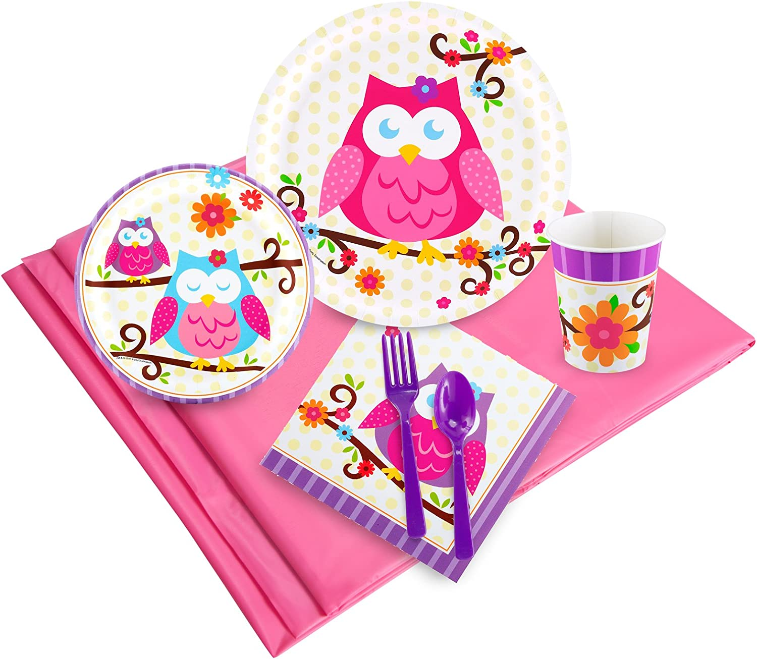 Party Pack for 24 BirthdayExpress Owl Blossom Party Supplies