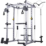 Mikolo Multi-Function Power Cage, 1200 lbs Commercial Weight Cage with Cable Crossover Machine, J-Hooks, Landmine, T-Bar, Dip