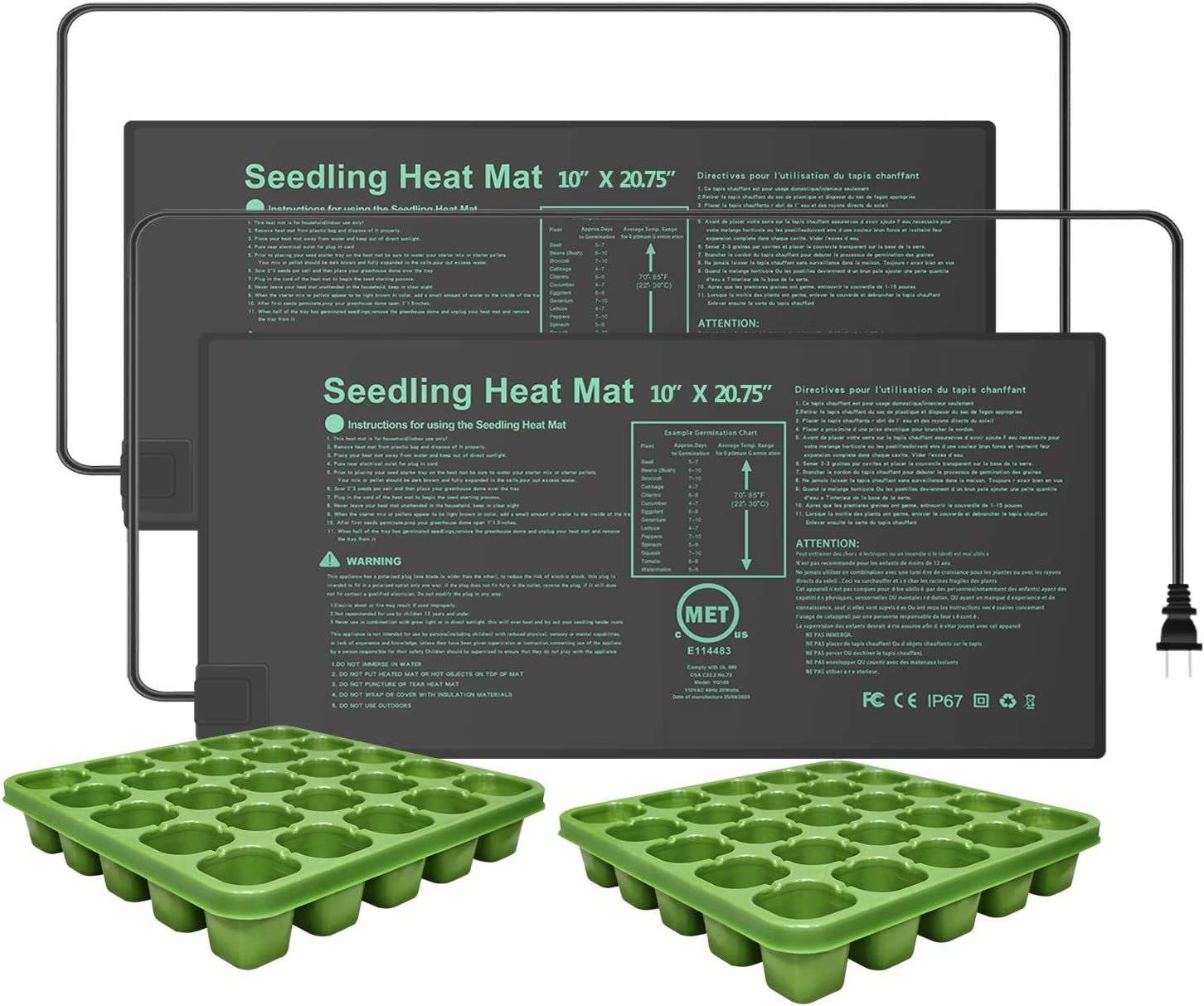 YOUSHENGER 10x20.75 2 Pack Seedling Heat Mat,MET Certified Waterproof Germination Station with 2pcs Seed Starter Tray Warm Hydroponic Heating Pad for Indoor Home Gardening Plant Germination kit