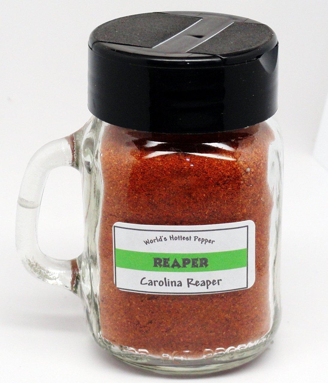 Carolina Reaper Powder (Ground Pepper) - 2 oz - Glass Mason Spice Jar by The Little Shop of Fiery (Image #1)