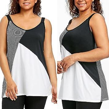 66f4b3c34ce Seaintheson Hot Sale Women Plus Size Vest O-Neck T-Shirt Stripe Patchwork  Fashion