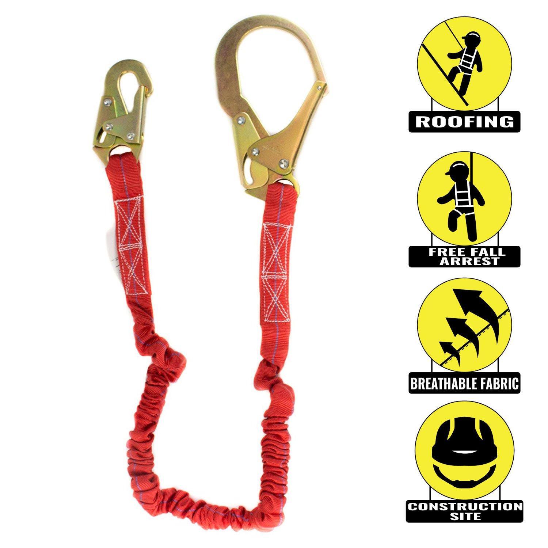 Spidergard SPL-S101 6 Foot Single Leg Internal Shock Absorbing Lanyard with Rebar Hook, Red
