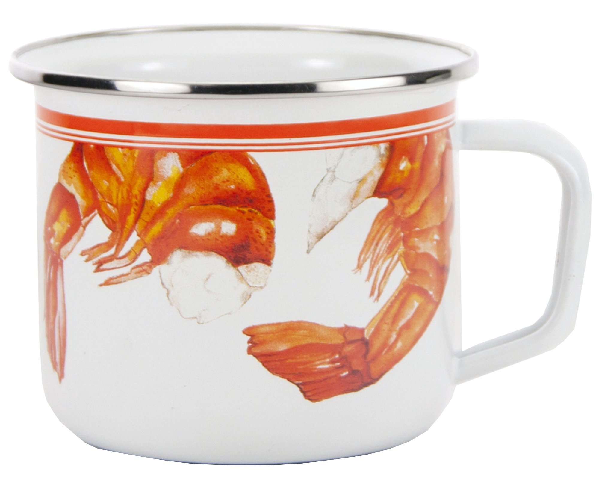 Enamelware - Shrimp Pattern - 24 Ounce Soup Mug