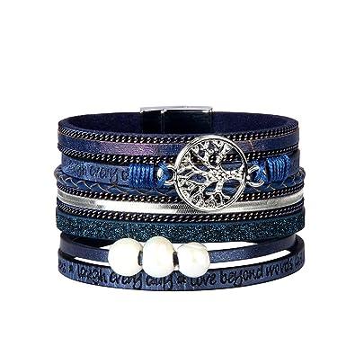 a58872aaedfb JAOYU Pulsera de cuero para mujeres Pulseras de perlas para niñas Pulsera  de puño Joyería hecha a mano - Hermana