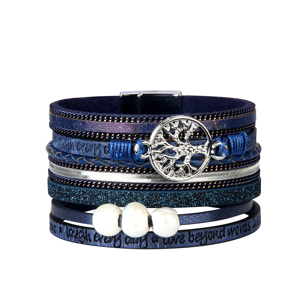 Jenia Blue Tree of life Leather Cuff Bracelet - Personality Engraved Braided Wrap Bangle with Pearl - Handmade Jewelry for Women, Teens Girl, Boy, Men Birthday Gift