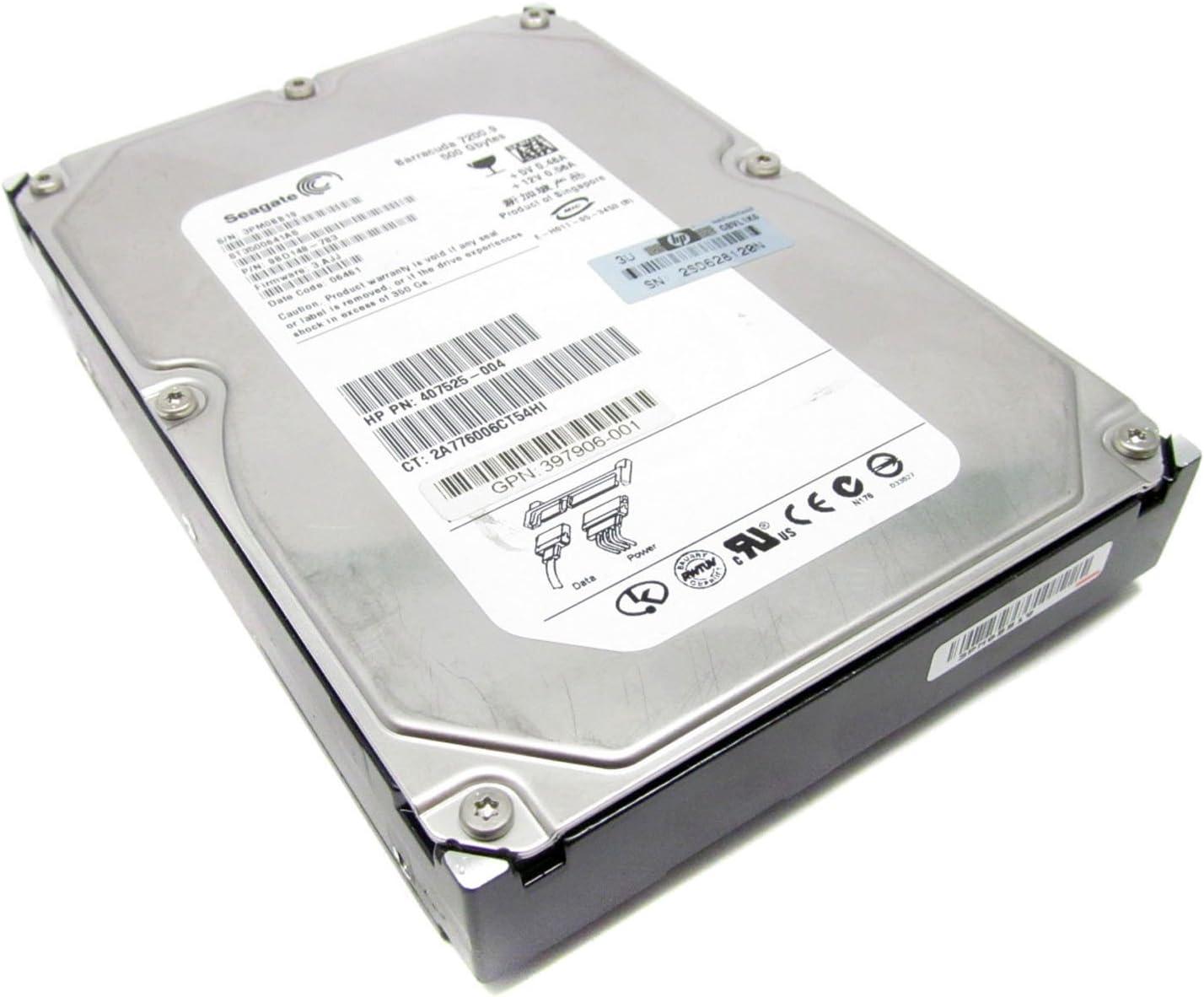 HP 407525-004 500GB 7200 RPM SATA 7-pin Hot-Swap 3.5 Inch Hard Drive.