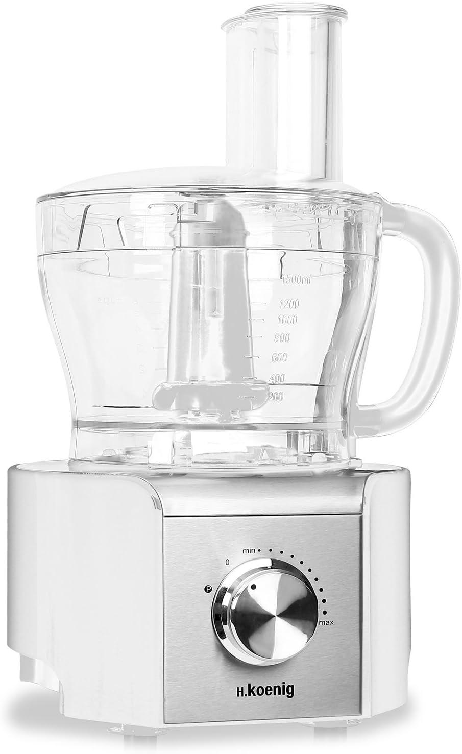 H Koenig MX-18 Robot de cocina procesador de alimentos (800W, baso de cristal 1,5L, 8 funciones: amasa, pica, corta, ralla, mezcla, bate, muele y pica hielo) Blanco: Amazon.es: Hogar